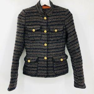 Zara Striped Tweed Jacket Blazer